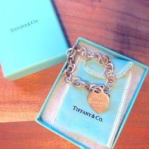 """Tiffany & Co Heart tag charm bracelet 7.5"""" 925"""